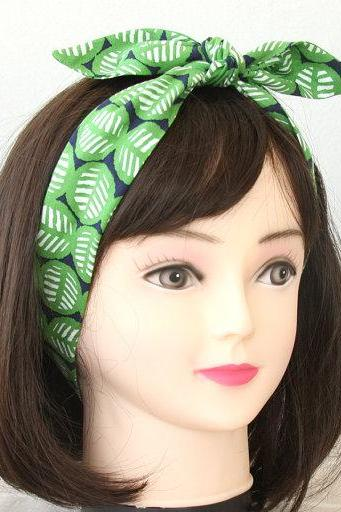 Green headband leaf print head wrap hair accessories adult headband woman rockabilly headband tie up headband bandana hair wrap gift for her