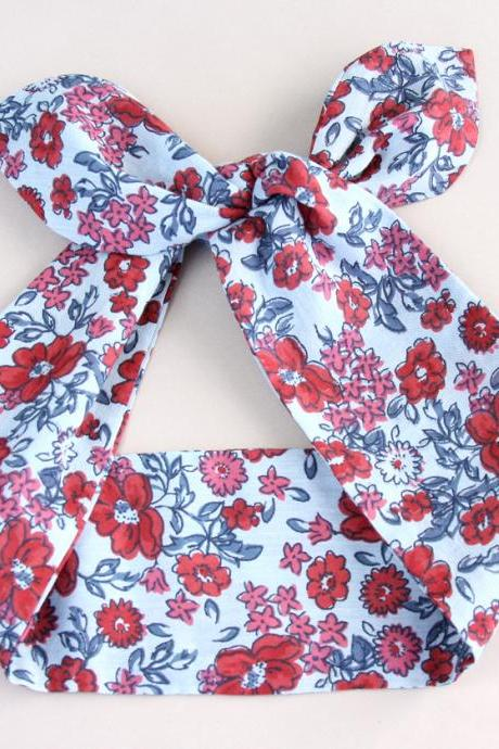 Denim Blue Headband adult headband woman top knot headband cotton head wrap hair headbands for women floral headband dolly bow headband fashion accessories