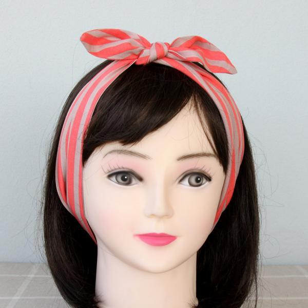 Striped headband orange and beige headband stripe head wrap 50's hair wrap self tie headband rockabilly headband adult headband woman